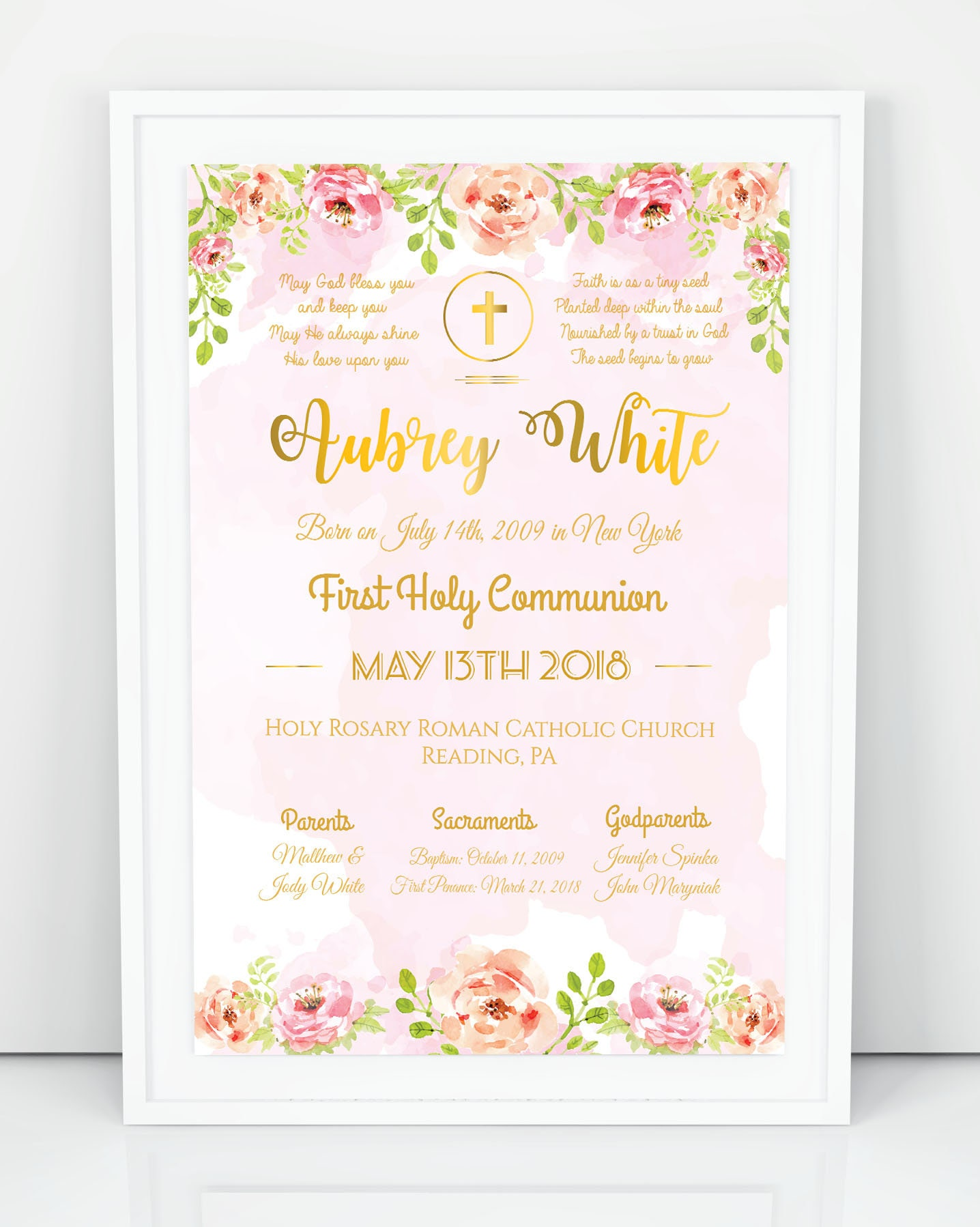 First Communion Poster First Communion Chalkboard Poster On White