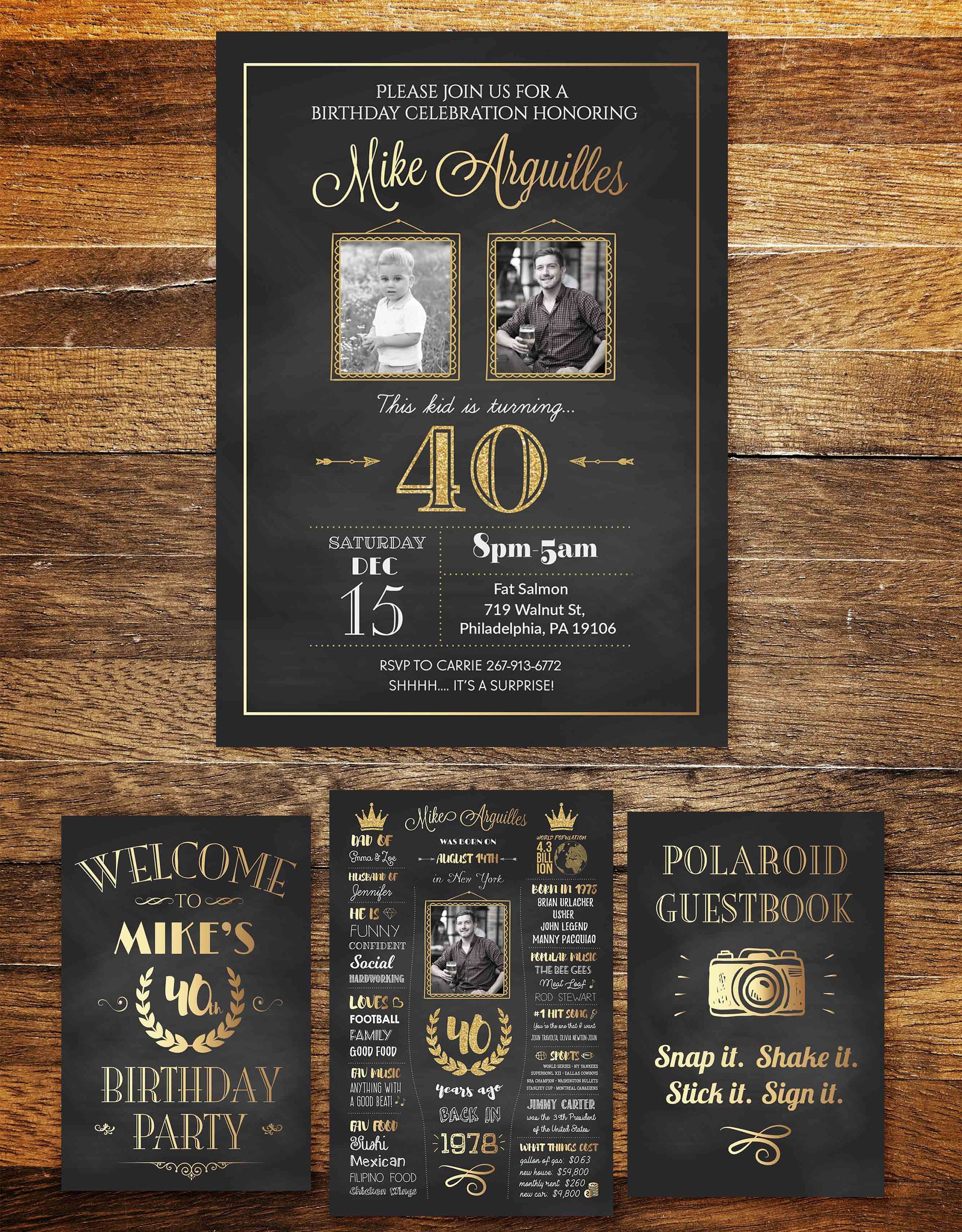 Adult Birthday Invite ANY AGE Men Women TWO Photos Invitation 40th Picture Party Invitations 2 Pictures