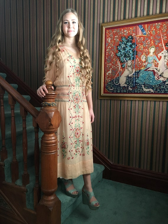 1920s Hungarian Hand  Embellished Embroidered Dres