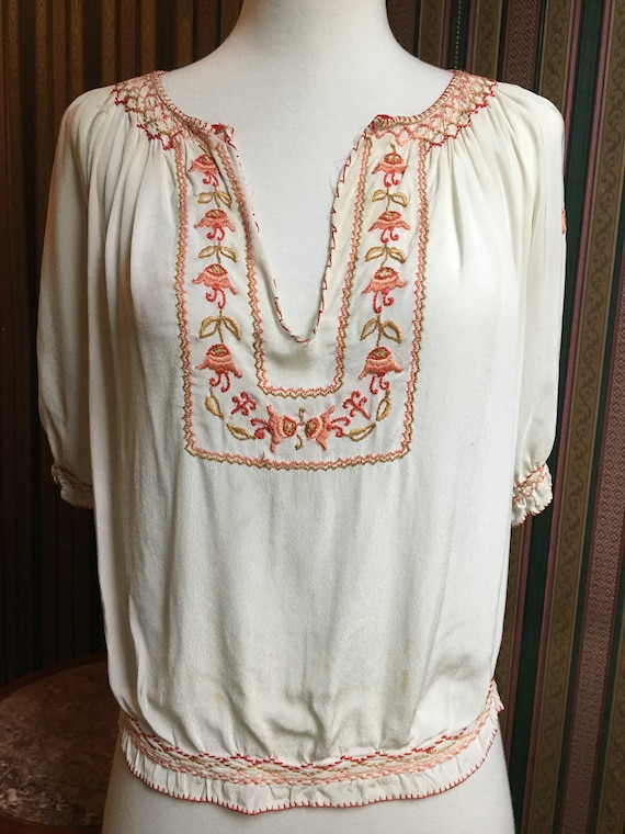Reduced! 1920s Vintage Embroidered Hungarian Blous