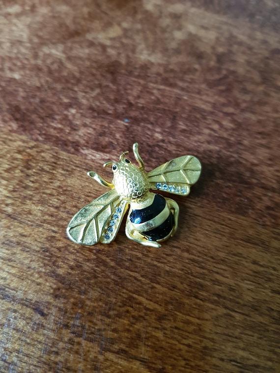 Vintage Honey Bee Brooch, Honey Bee Brooch with Go