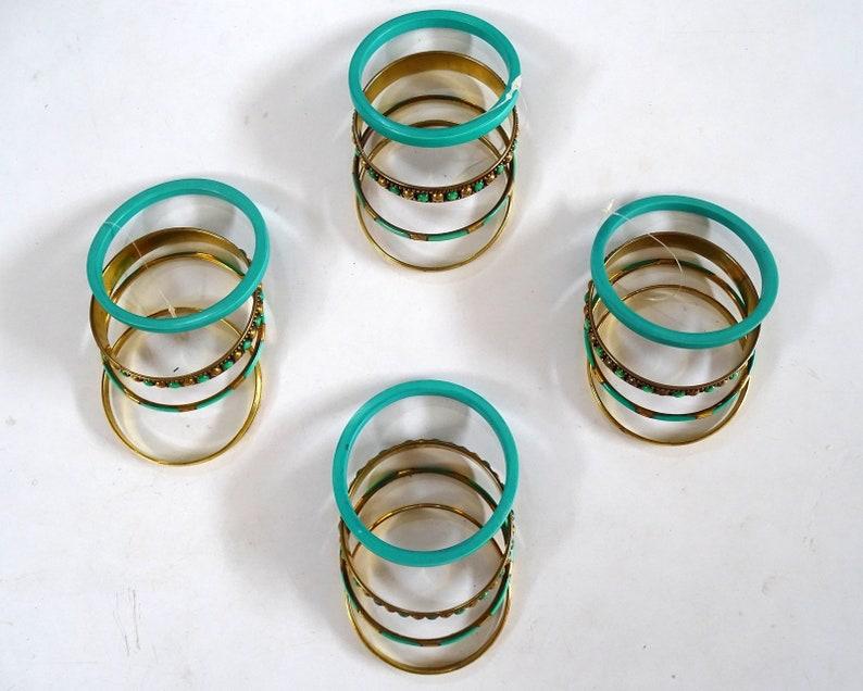 Bohemian Bangle  Glass Chip Brass Bangle Set  Set of Four Bangles  Bracelet  Brass Cuff  Indian Bangles  Green  Gold