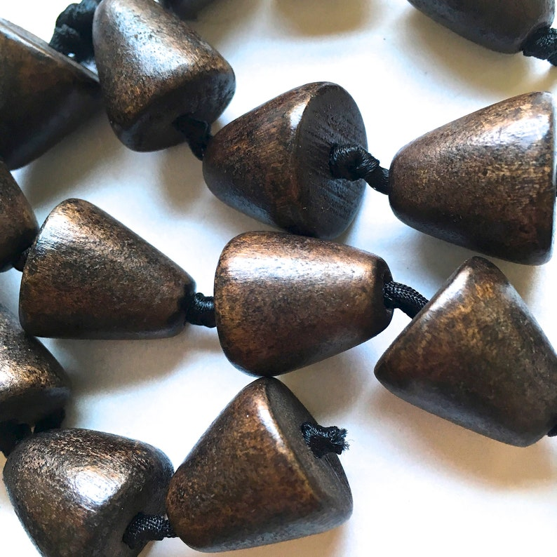 Natural Dark Wood Beads 34 Inch Long X 18 Inch Cone Shape Wooden Beads With 5 Mm Hole 16 Pieces Wood Beads Jewelry Beads For Stringing