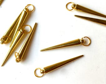 1 doz. Golden SPIKES- Metal Findings-Charms-Jewelry, Crafts Supply- gold finish-1 lot (12 pcs)
