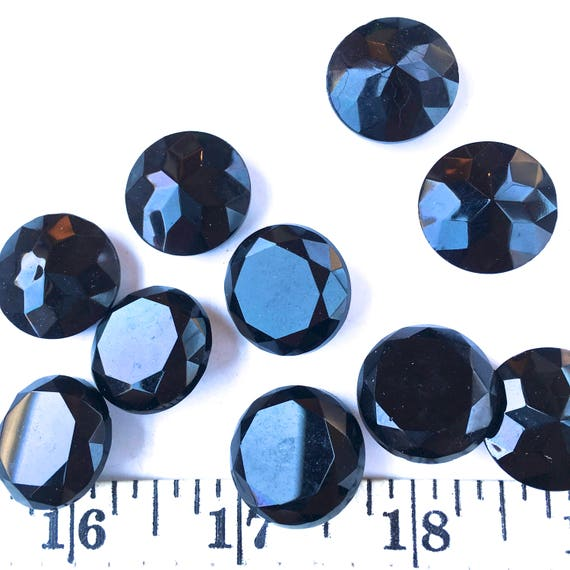 """ROUND BEADS R555 24 VINTAGE CZECHOSLOVAKIAN /""""PRECIOSA/"""" JET GLASS FACETED 6mm"""