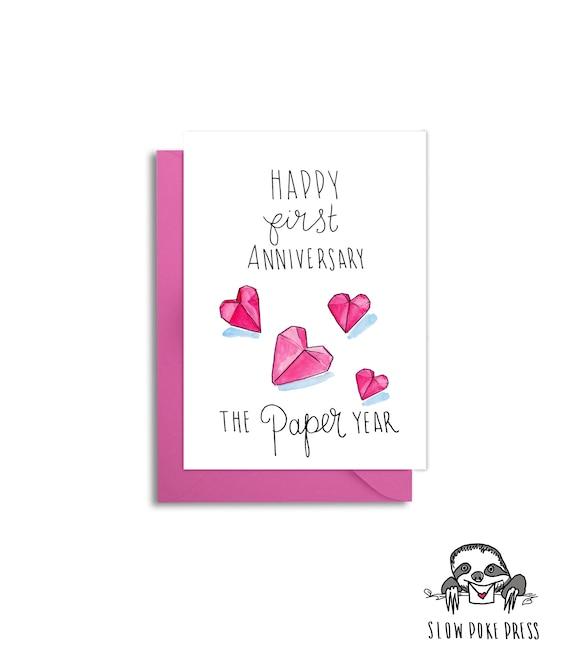 Jahrestag.Erste Hochzeit Jahrestag Mann Papier Jahrestag 1 Jahrestag Papierherzen 1 Jahrestags Karte Ein Jahr Verheiratet Origami Herz