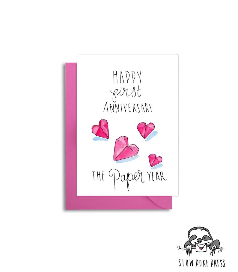 First Wedding Anniversary Husband Paper Anniversary One Year Married 1st Anniversary Paper Hearts 1st Anniversary Card Origami Heart