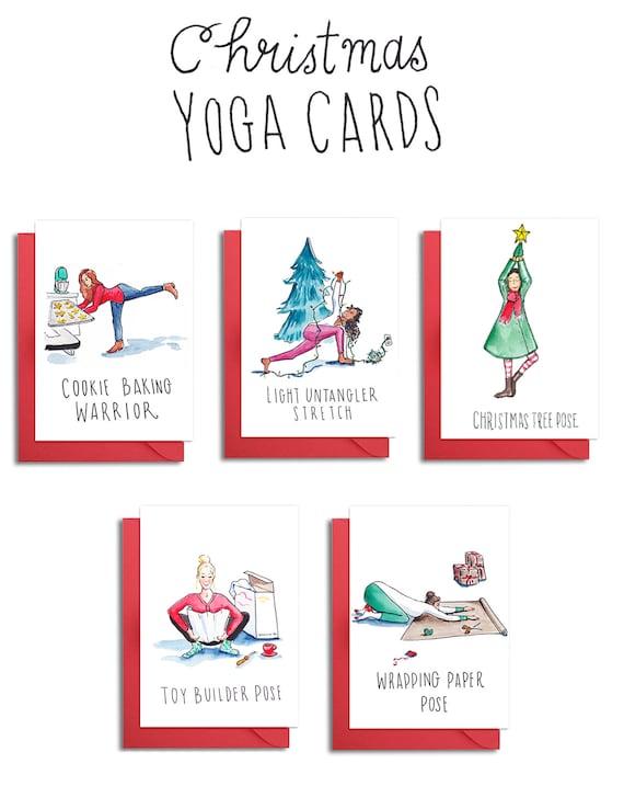 yoga poses christmas cards