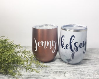 personalized wine glasses rose gold tumbler bridesmaid gift christmas gift for friend 21st birthday gift for her stemless wine tumbler & Christmas gifts for friends | Etsy