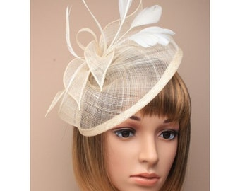 Large Ivory Feather Fascinator Wedding Hats Formal Race Day Hat Church Mother Of The Bride Cocktail