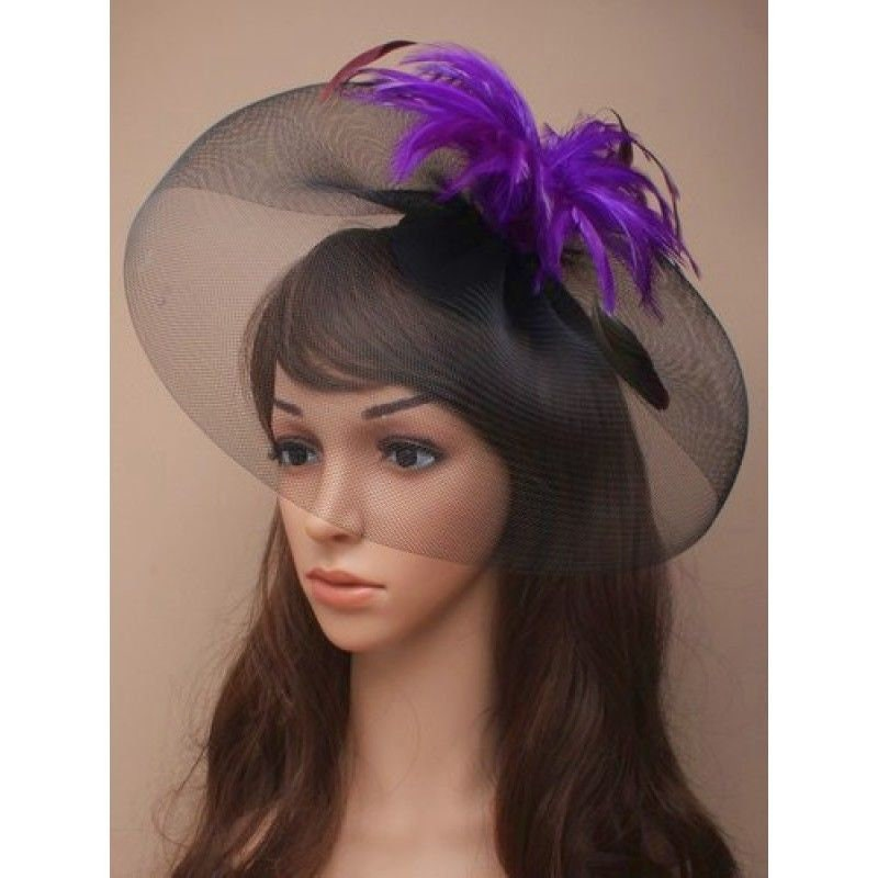 black and purple fascinator feather fascinator cocktail hat  8a609295e50