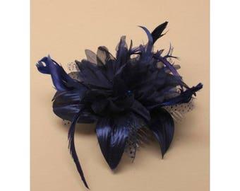 Navy Blue Feather Fascinator, decorative Comb , wedding fascinator, church blue fascinators,  ladies day hair accessory, races fascinator