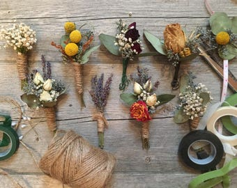 Dried wedding Boutineere, Billy Ball boutineer, country wedding, custom boutonnieres , fall wedding, dried craspedia, gypsophillia dried