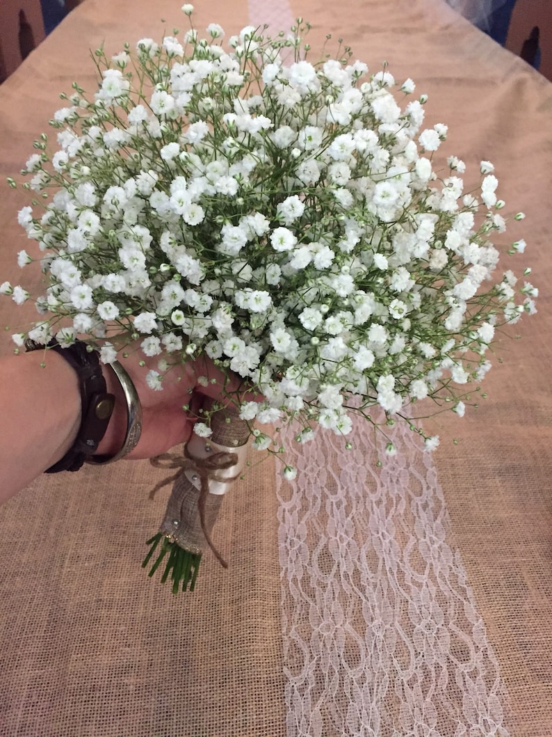 FRESH baby's breath wedding bouquet white flower bride image 0