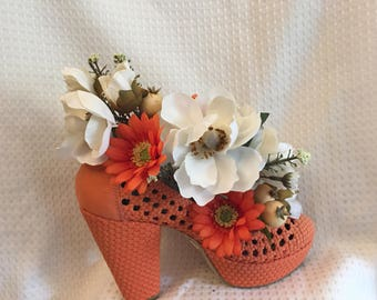 a649b5247178 Silk Floral Arrangement Orange Open Weave High Heel Shoe