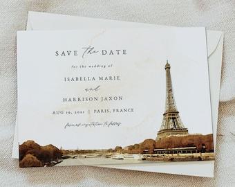 Paris Save The Date Template Printable Eiffel Tower Wedding Date Announcement Postcard Instant Download Corjl #016-214SD 100/% Editable