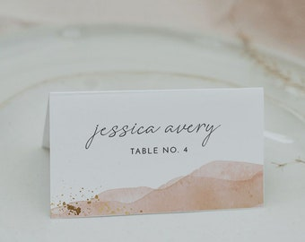 Printable Place Cards Terracotta Watercolor Guest Name Card SONNY Wedding Place Card Template Bohemian Burnt Orange Escort Cards Fall DIY