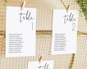 ADELLA  Modern Wedding Seating Chart Card Template, Minimal Wedding Seating Chart Cards, Minimalist Seating Chart Cards Wedding Instant
