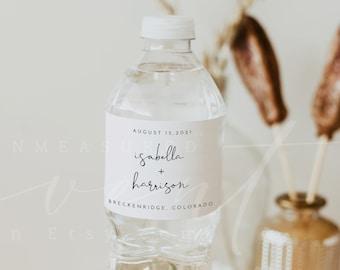 ADELLA  Wedding Water Bottle Label Template, Modern Minimalist Printable Water Bottle Sticker Instant Download Shower Engagement Retirement