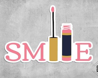 Smile Makeup Die Cut Vinyl Sticker