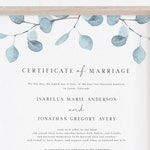 Arya - Eucalyptus Marriage Certificate Template, Eucalyptus Wedding Vows, Printable Marriage Certificate Instant Download, Greenery Wedding