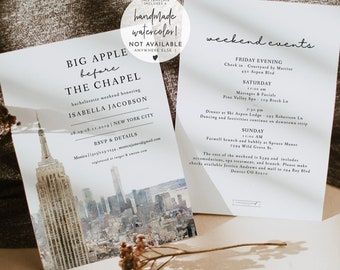 Set of 25  Custom New York City Skyline Invitation  Yellow  Wedding  Event  Birthday  Bachelorette Party