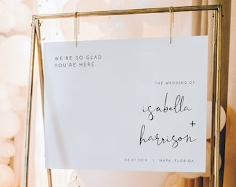 ADELLA  Modern Wedding Welcome Sign Template, Minimal Wedding Welcome Sign, Horizontal Welcome Sign, Wedding Sign Welcome White, Instant