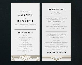 Printable Wedding Program Carlotta Wedding Ceremony Program Art Deco Wedding Program Printed Wedding Program Custom Wedding Program