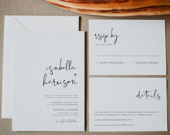 ADELLA Modern Minimalist Wedding Invitation Template Set, Wedding Invitation Template Download, Printable Wedding Invitation Suite Clean DIY