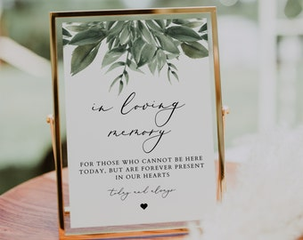 Instant Download Forever in our Hearts Instant Download Greenery In Loving Memory Sign Editable Template BD62 Modern Rustic Olive