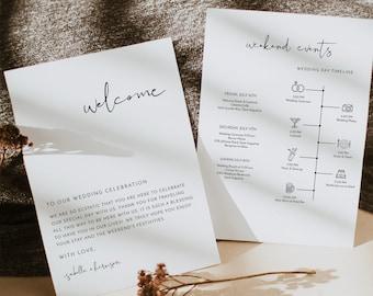 ADELLA Minimalist Wedding Timeline Template, Wedding Timeline, Event Timeline, Wedding Itinerary, Weekend Schedule Printable, Welcome Bag