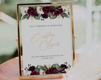 INSTANT TEMPLATE In Loving Memory Sign Magnolia Succulent Custom 8x10 Sign Template Bar Sign Garden Wedding Wedding Signs CARA