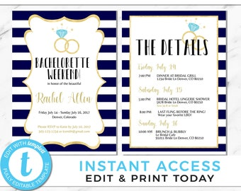 Bachelorette Party Invitation Itinerary Template Instant Download