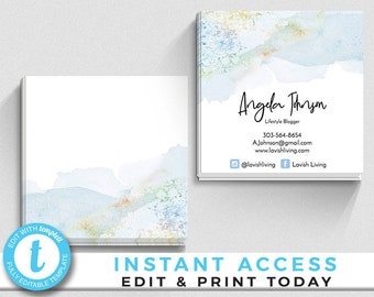 Square business cards etsy ocean watercolor business cards blue watercolor business cards calling cards blogger calling cards business cards square business cards reheart Image collections