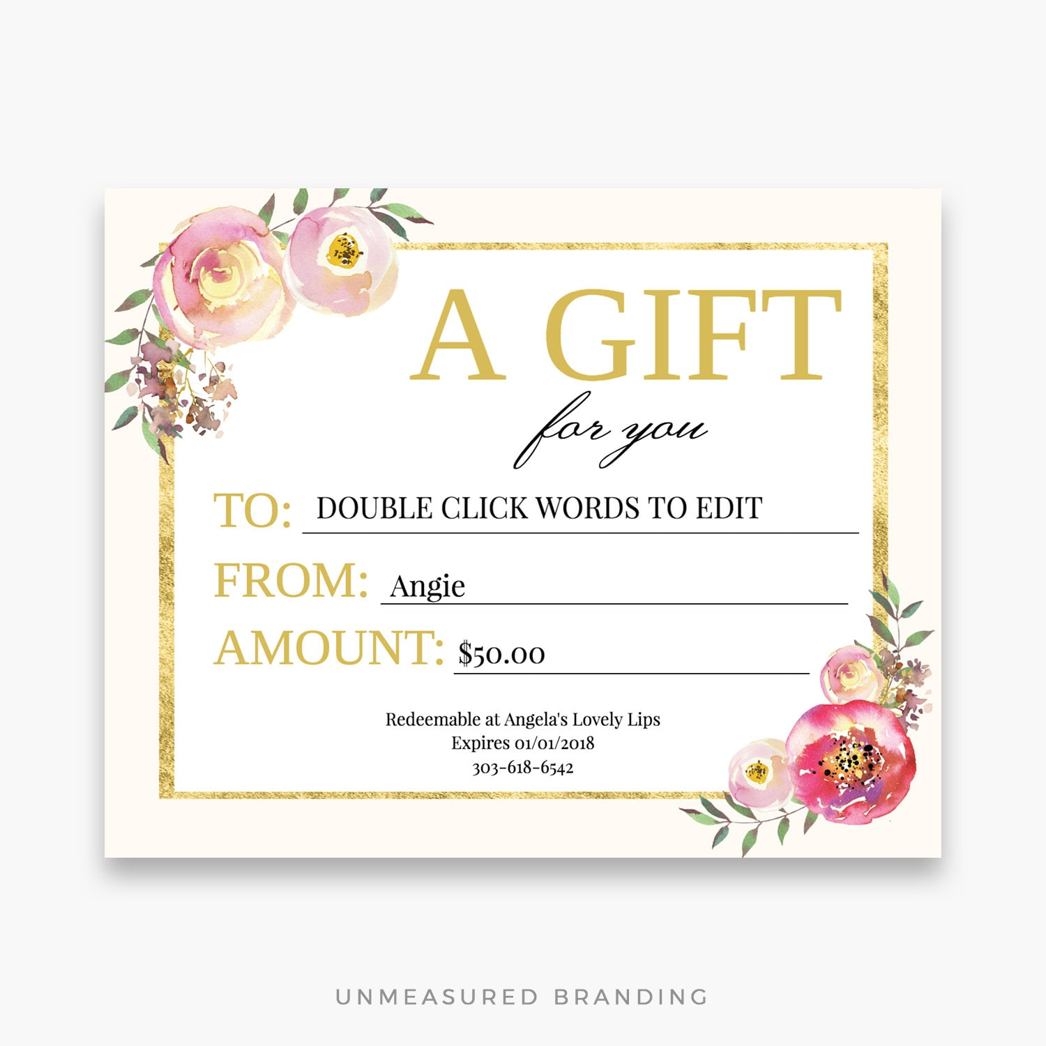 Lipsense Gift Certificate Floral Gift Card Makeup Gift Etsy