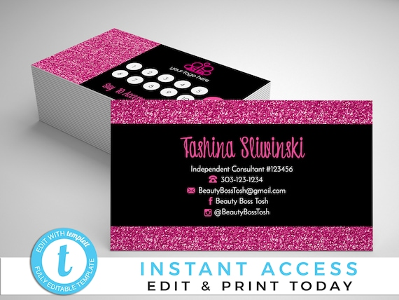 Hot pink glitter and black business cards glitter business etsy image 0 colourmoves