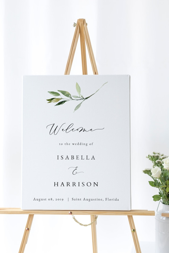 photo relating to Welcome Signs Template named Isabella - Greenery Welcome Indicator Template, Greenery Marriage Signs and symptoms, Welcome Signal Marriage, Greenery Welcome Banner, Printable Welcome Indicator