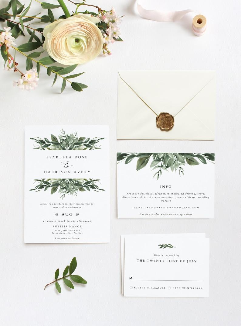 Lana Modern Greenery Wedding Invitation Template Set Etsy