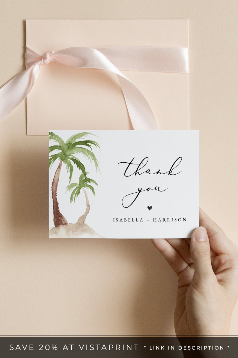 Beach Wedding Thank You Instant Download Palm Tree Thank You Card Template Printable Thank You Card Tropical Thank You Cards FIONA