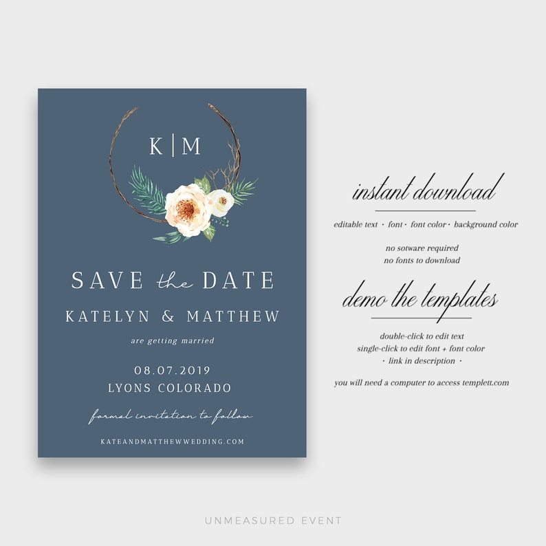 Rustic Save the Date Instant Download Templett Invite Country Save the Dates Bryn Floral Save the Date Woodland Save the Date Template