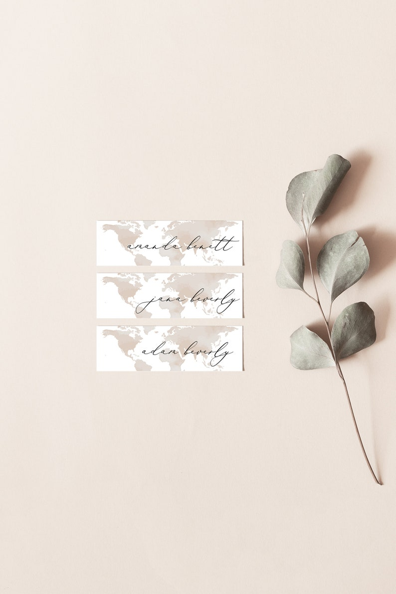 Watercolor Map Slender Place Card Template Thin Wedding Place Cards Skinny Wedding Place Cards Unique Table Name Cards Wedding CARMEN