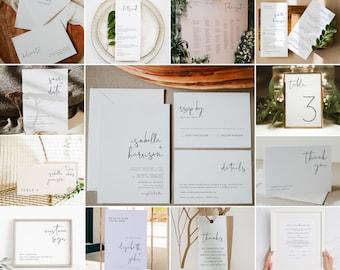 ADELLA  Wedding Bundle, Modern Minimalist Wedding Invite, Large Wedding Kit, Printable Wedding Invitation, Simple Clean Edgy Wedding DIY