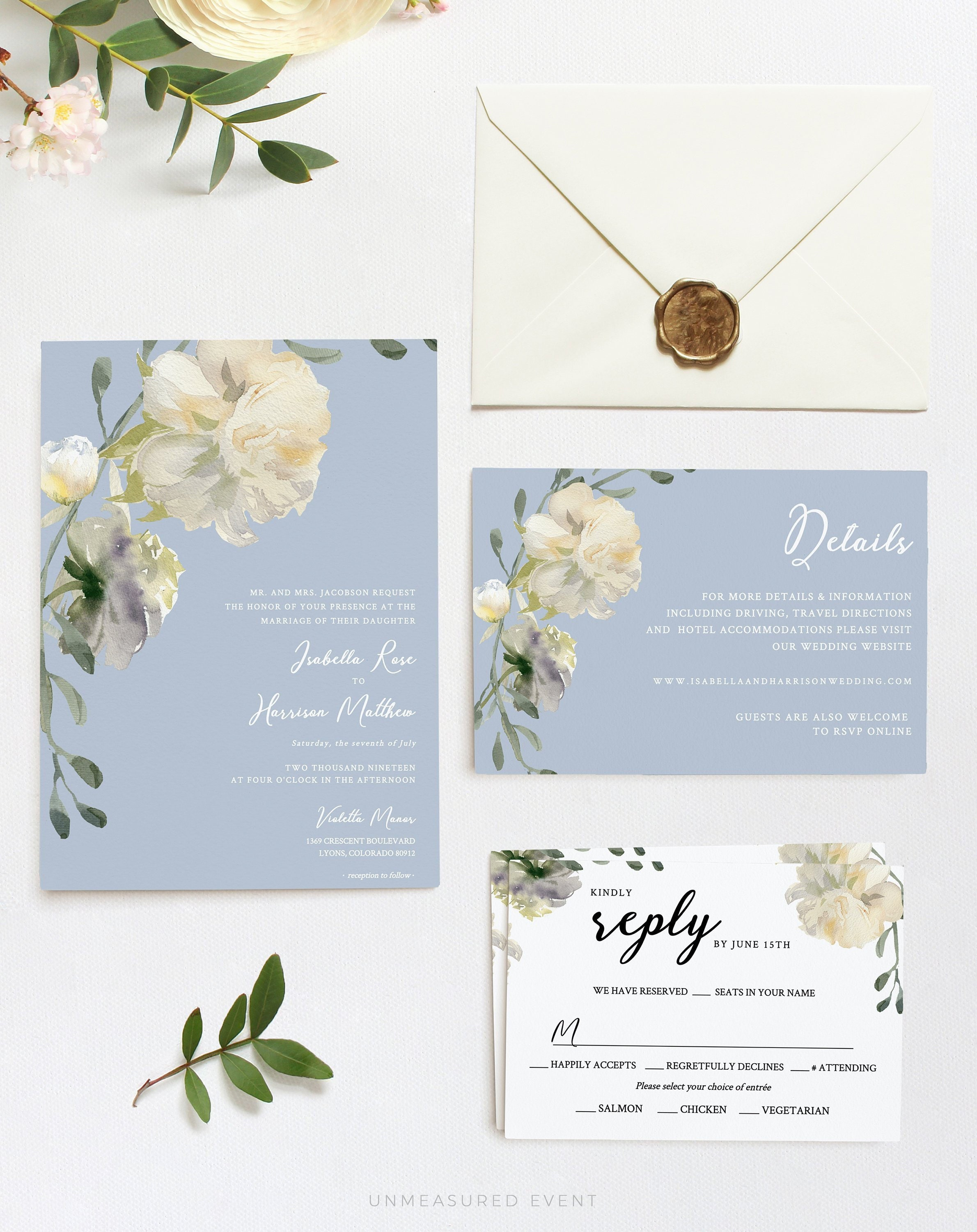 Dusty Blue and White Peony Floral Wedding Invitation Set