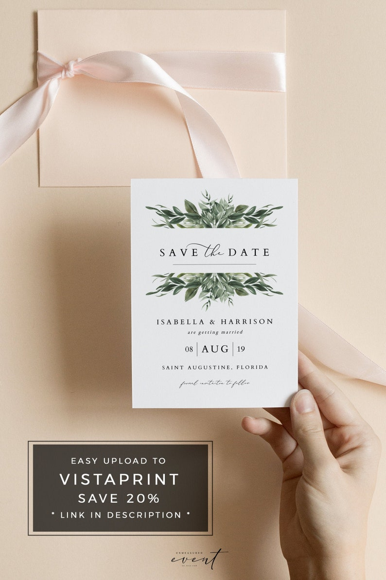picture about Free Printable Save the Date named Lana - Ground breaking Greenery Help you save the Day, Printable Preserve the Dates, Fast Obtain Help save the Dates, Greenery Invitation, Help you save the Day Playing cards