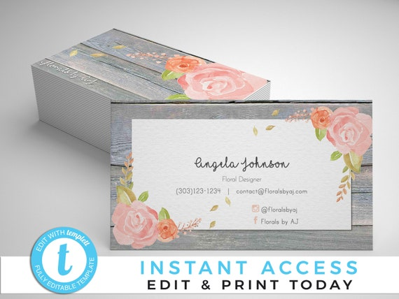 Rustic floral business cards floral business cards business etsy image 0 wajeb Images