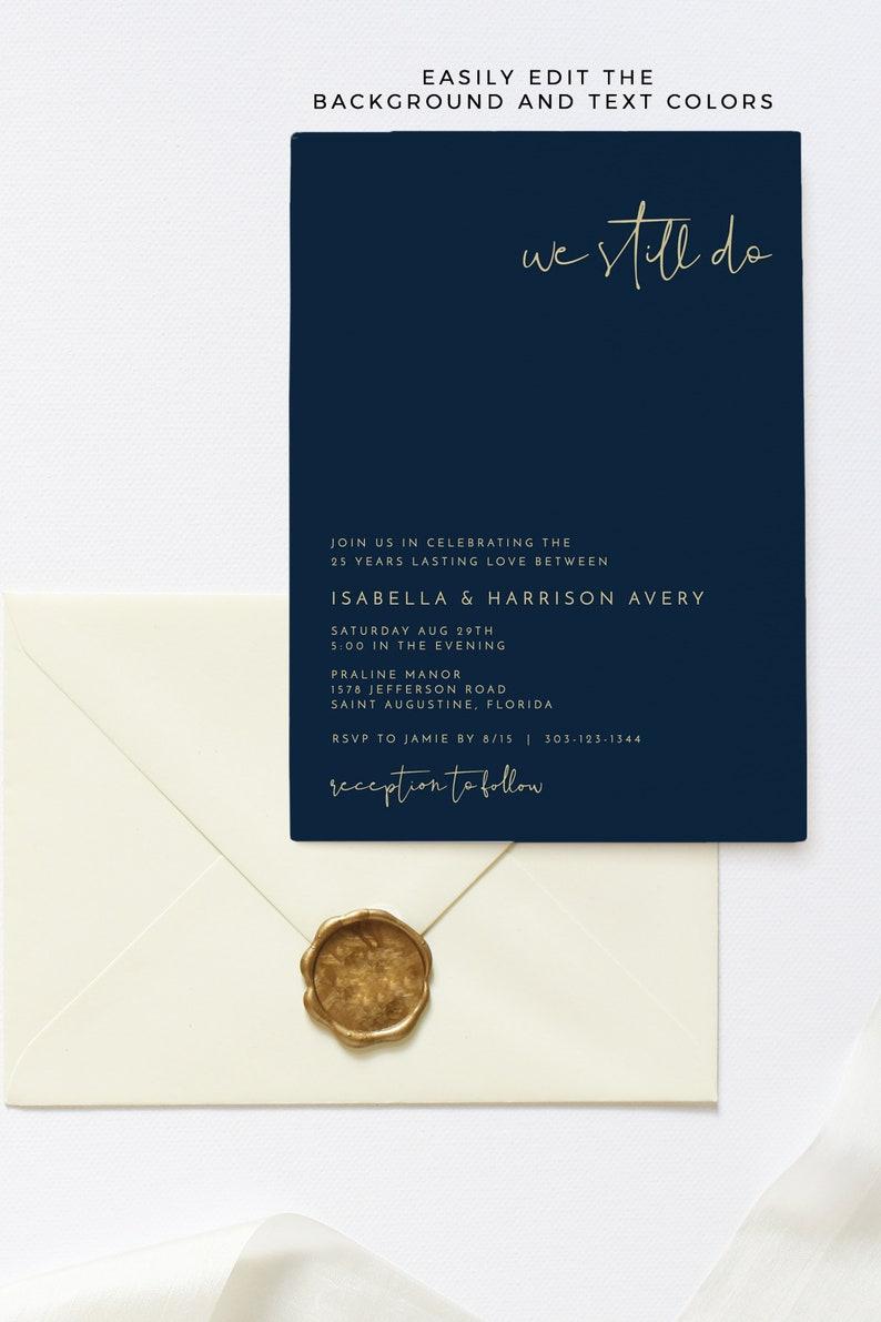 Vow Renewal Invitation Minimalist Anniversary Invitation Instant Download Adella We Still Do Invitation Template Templett Invitation