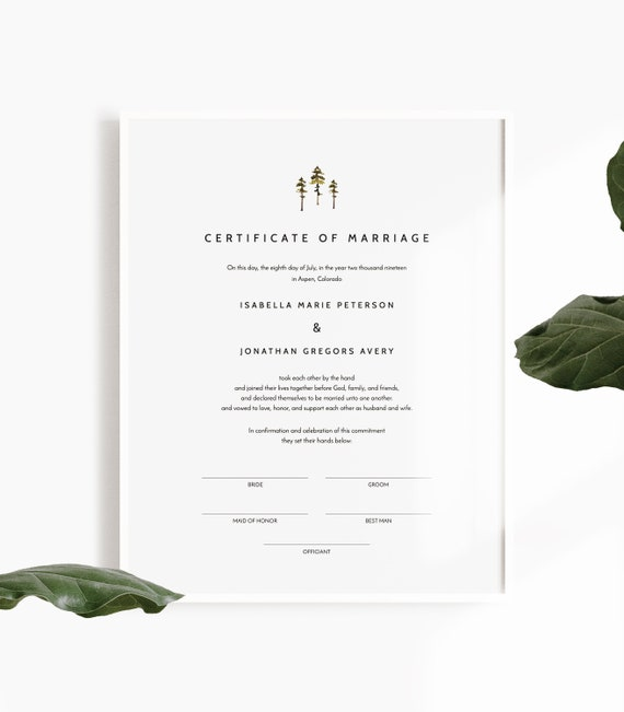 picture regarding Printable Marriage Certificates called Jenna - Rustic Pine Connection Certification Template, Romance Certification Printable, Printable Marriage Vows, Marriage Certification Keepsake