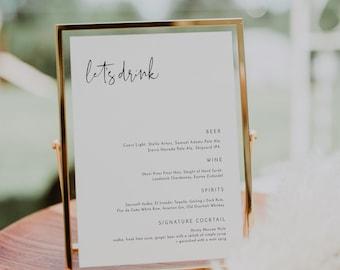 "ADELLA Modern Wedding Bar Menu Template, 8x10"" Minimalist Bar Menu Wedding Sign Templett, Wedding Drink Sign Printable Template EDITABLE"