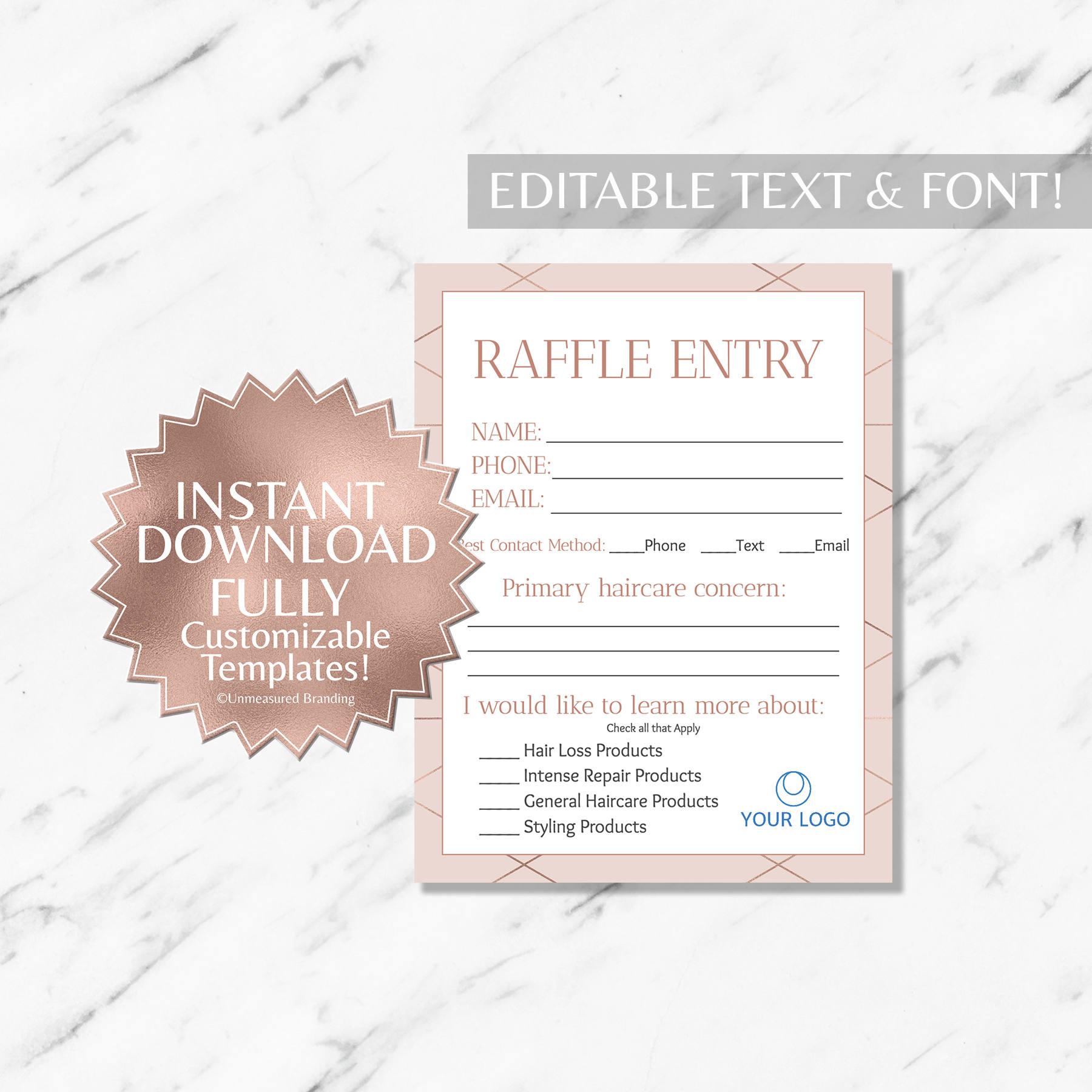 Rose Gold Raffle Ticket Raffle Ticket Template Monat Raffle Etsy