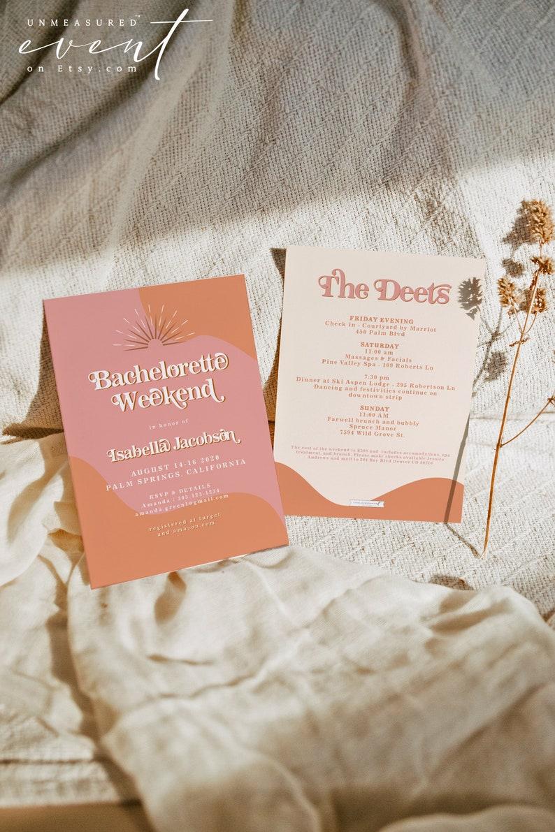 TRIXIE Retro Bachelorette invitation Template 70's image 0